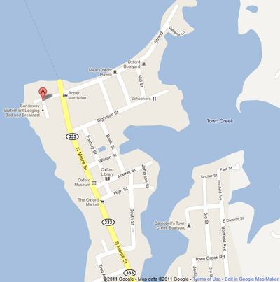 Map to Tred Avon Yacht Club